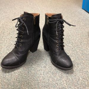 Shoes - Lace up leather heeled boots